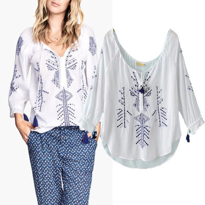 b5fae60737ca0 Boho Tassel String Embroideried Tunic Women Peasant Tops Shirts Blouses