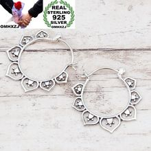 OMHXZJ Wholesale European Fashion Woman Girl Party Wedding Gift Vintage Silver Flower Taiyin  Hoop Earrings EA452