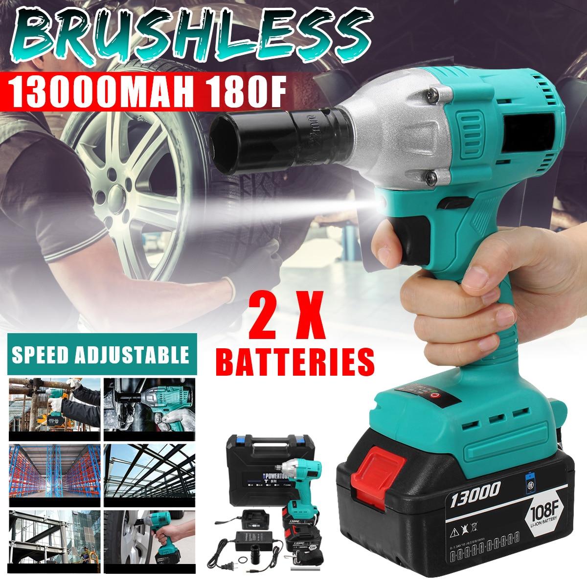 Brushless Elettrico Shock Cordless Impact Wrench 340 NM Cordless FAI DA TE Per Uso Domestico Elettrico Chiave w/2 pz 108F 13000 mah batterie