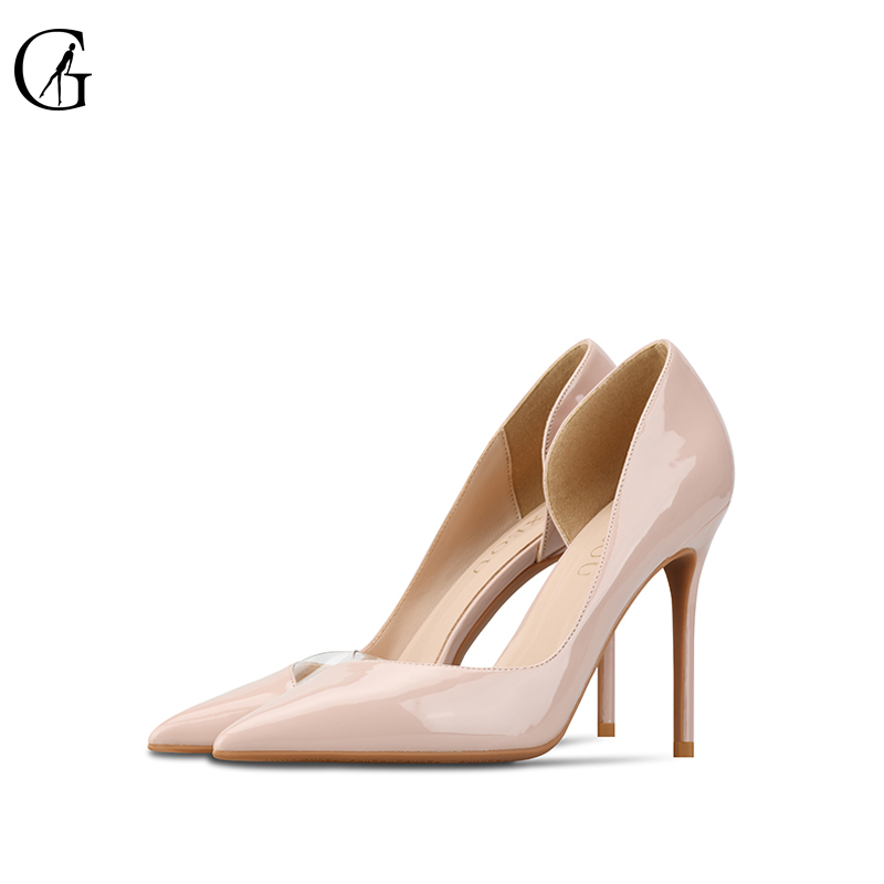 Goxeou Women Pumps 2019 Transparent 6-10cm High Heels Sexy Pointed Toe Slip-on Wedding Party Shoes nude  For Lady Size 34-46