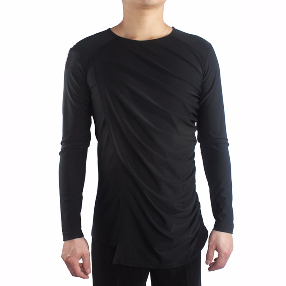 Current Male Latin Dance Shirts Black Color Cotton Long Sleeve Wears Men Gentlemen Ballroom Chacha Present