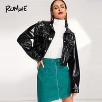 ROMWE Pocket Front Button Up PU Crop Jacket 2019 Black Single Breasted Crop Jacket Women Cool Spring Autumn Womens Jackets