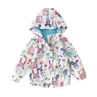 Spring Autumn Baby Girls Coat 2017 New Cartoon Pattern Cute Children Outerwear Hooded Kids Jackets For