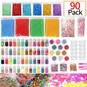 90 Pack Slime Supplies Kit Slime Beads Charms Include Fishbowl Beads, Foam Balls Smiley face Slices Colorful Foam Beads Tools