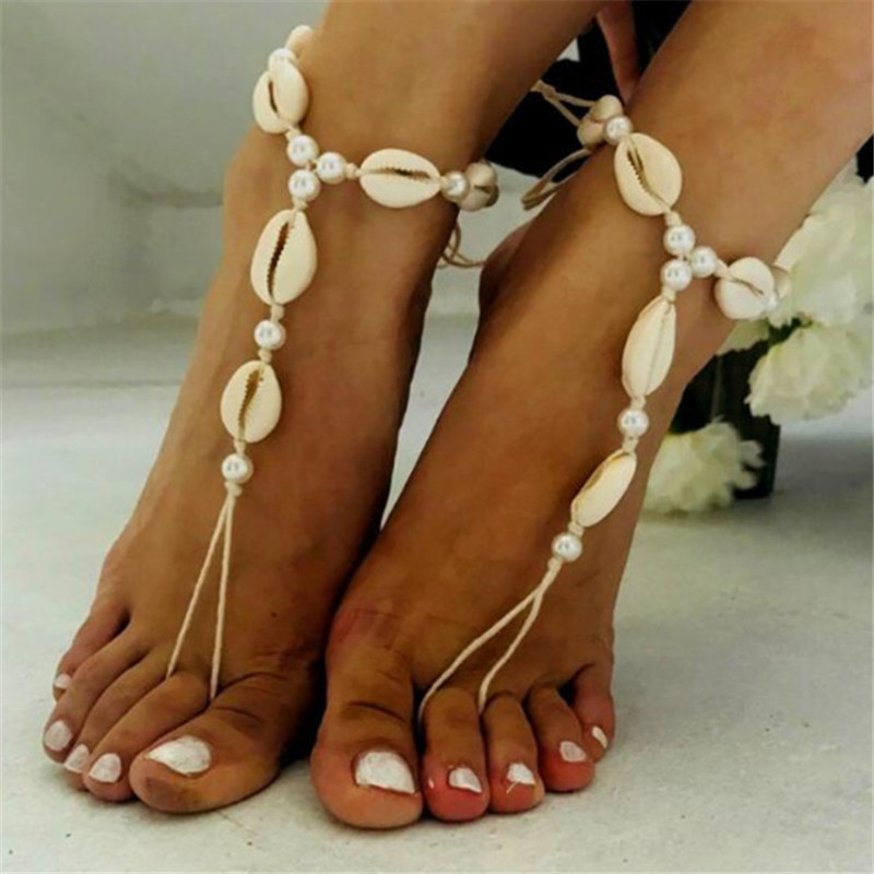 2019 Vintage Rope Bead Ankle Bracelet Natural Shell Bohemian Anklet Women Foot Jewelry Summer Beach Holiday Accessories
