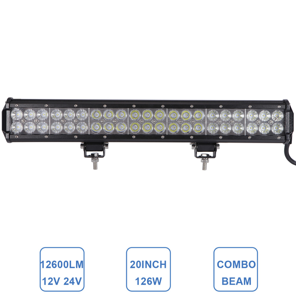 ФОТО 20 Inch 126W Offroad LED Light Bar Driving Headlight 12V 24V ATV 4X4 4WD Heavy Duty Farming Boat SUV Car Auto Camping Truck Lamp