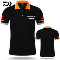 Summer Daiwa Fishing Tshirt Polo Tee Patchwork Breathable Fishing Clothing Outdoor Sport Anti-sweat Fishing Top Striped T-shirt