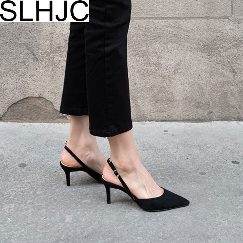 SLHJC Summer Pumps Shoes High Thin Heel Pointed Toe Women Sandals Shoes Sexy Young Lady Shallow Mouth Shoes Stiletto Heels 2018 spring summer low heel sandals pointed toe shallow mouth women shoes woman cozy casual shoes leisure single ladies shoes cy
