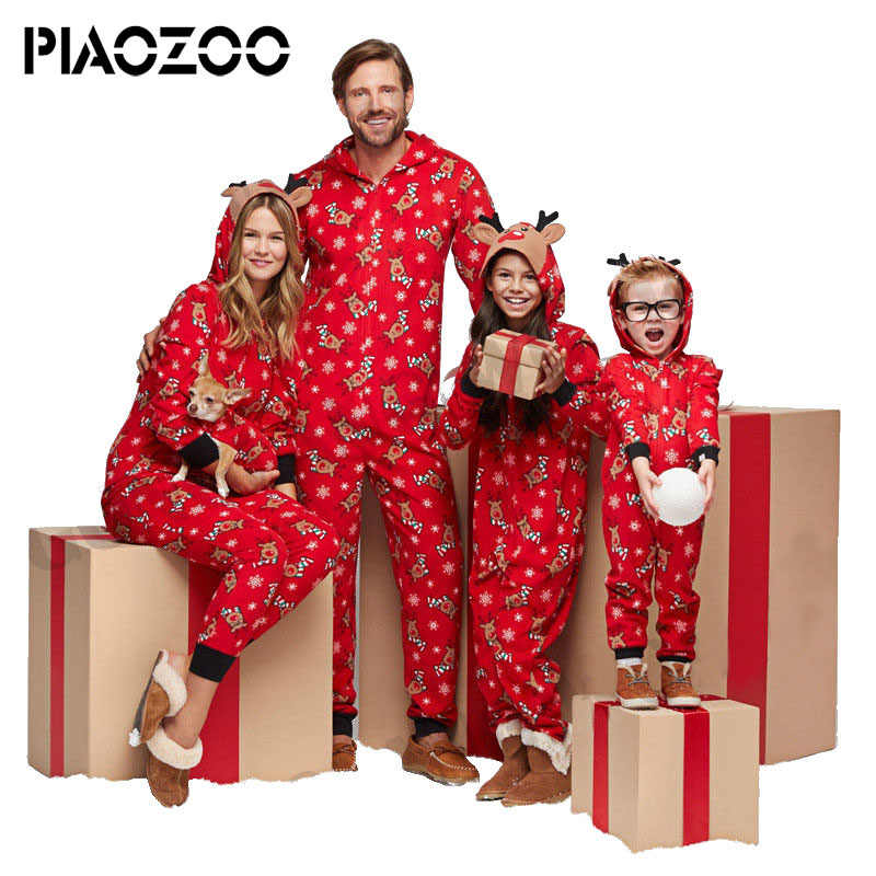74096c3611 Winter Pyjamas family christmas pajamas set kids Hooded Pajama Unisex  Homewear comfortable adult Sleepwear Hooded Onsie