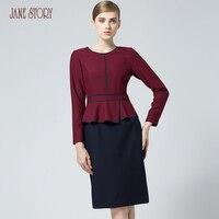 Джейн история женщины зимнее платье поддельные двойной пьесы рюшами дизайн красный и синий элегантный тонкий Круглый воротник Длинные рук