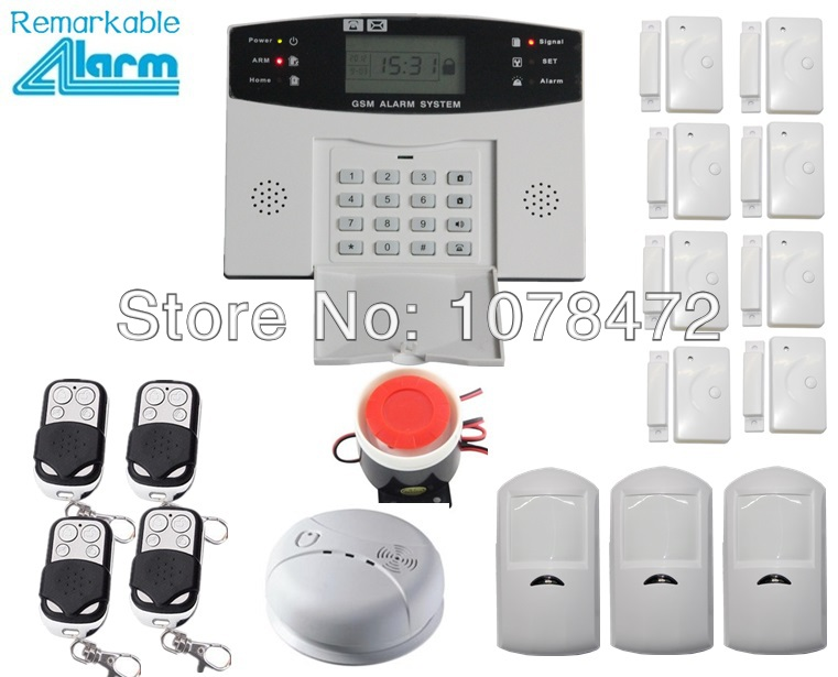 Good quality LCD display Wireless wired Home security GSM Alarm system with 8 door sensor,3 PIR detector+ 1 smoke fire alarm 1set home security protection gsm sms wireless alarm system pir motion detector smoke alarm magnet door sensor wireless siren