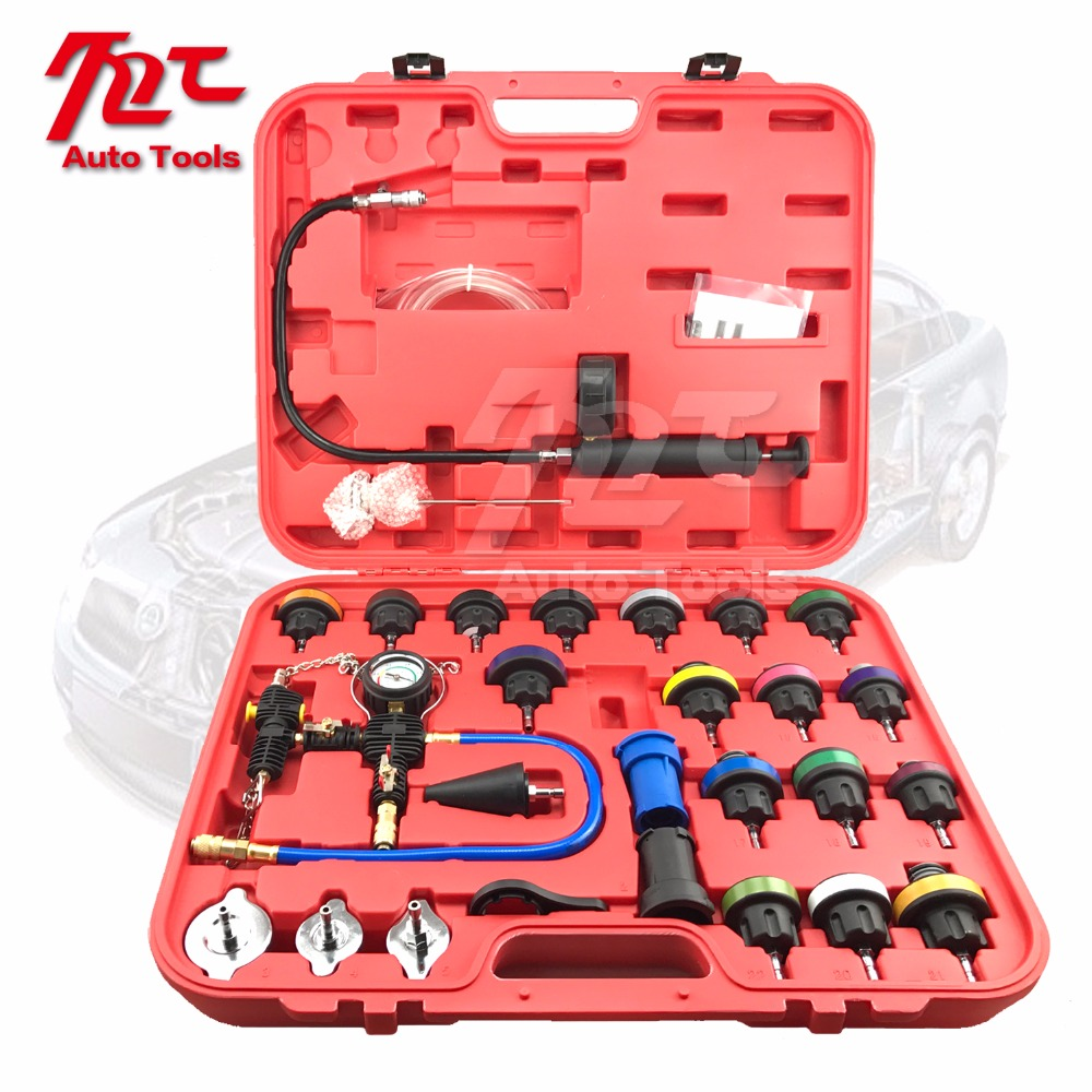 US $78 0  28pcs Universal Radiator Pressure Tester Kit Cooling System  Tester Water Tank Leakage-in Fuel Gauges from Automobiles & Motorcycles on
