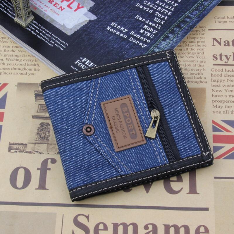 2018 Men Wallets Coin Bag Zipper Small Purses Denim Slim Thin Purse Card Holder Bifold Short Purse Clutch Coin Pocket Wallets