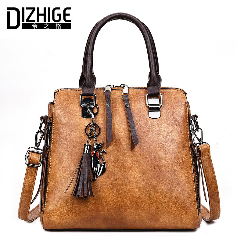 DIZHIGE Brand Luxury Handbags Women Bags Designer Tassel Shoulder Bags High Quality PU Leather Bag Women Fashion Ladies Bag Tote women vintage bucket bag ladies casual pu leather handbags tote high quality messenger bags brands designer shoulder tassel bag