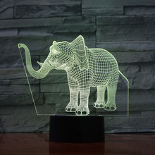 Elephant LED Night Light 3D Illusion 7 Color Changing Decorative Light Child Kids Gift Animals Elephant Desk Night Lamp Bedside
