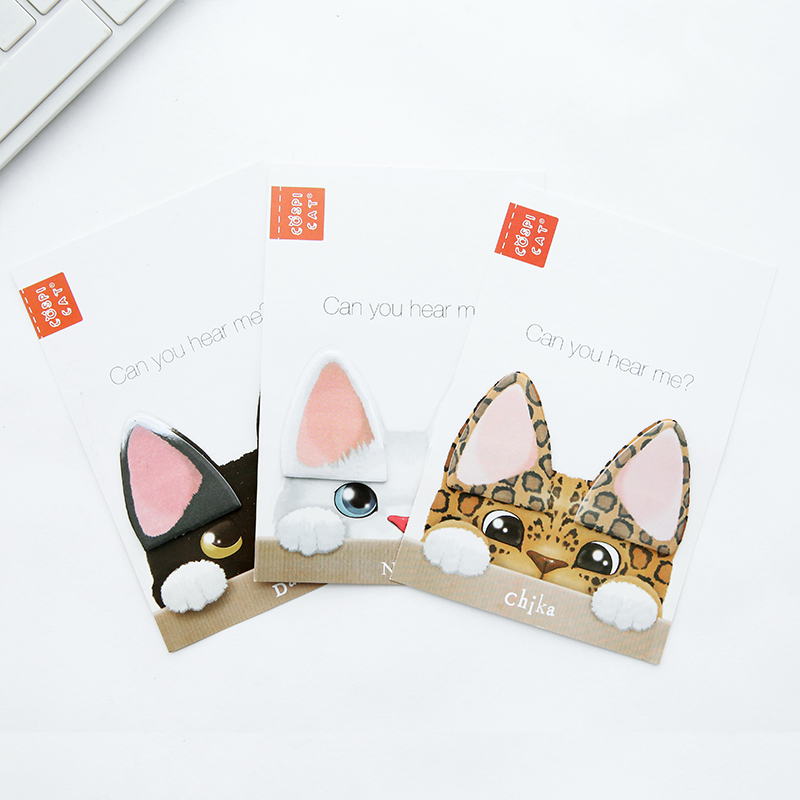 Q15 1X Cute Kawaii Cat Ear Sticky Notes Memo Pads Planner Stickers Post it School Stationery Office Supplies Message Notes ...