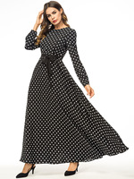 European and American high end fashion large swing long sleeved dress Middle Eastern Muslim robes 7376#