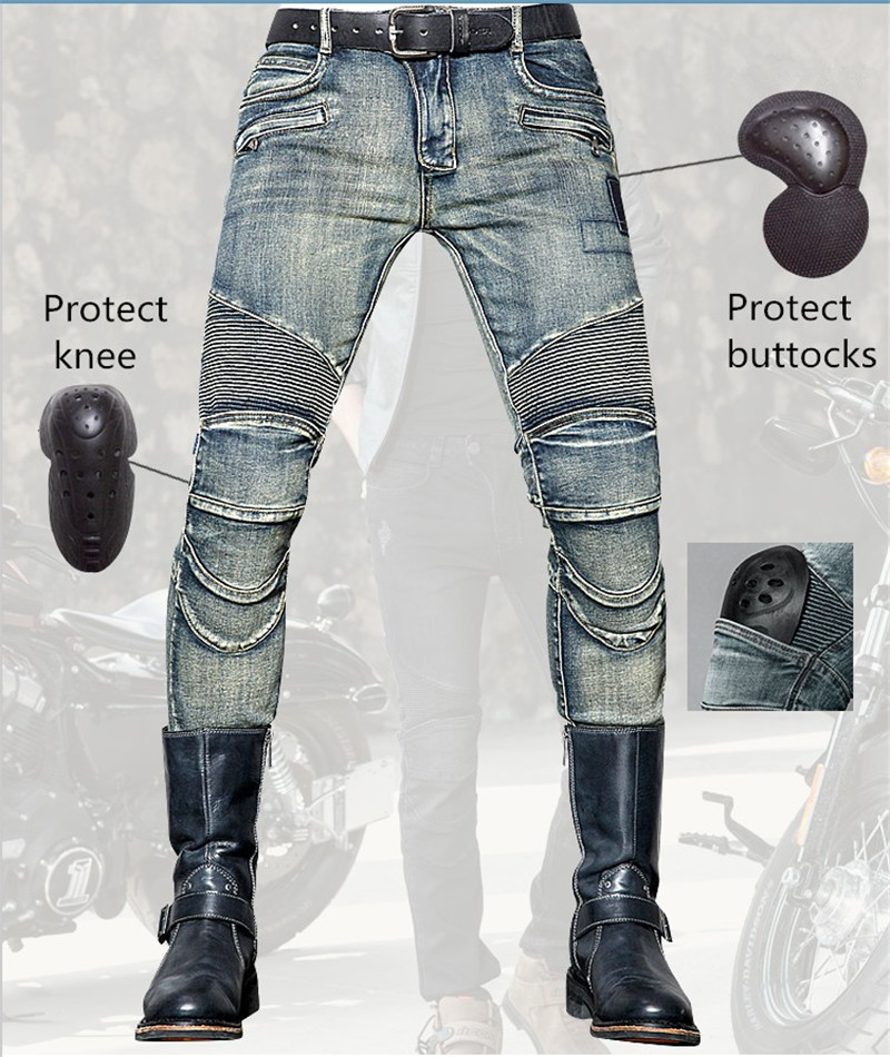 Fashionable Slim Men's Jeans uglybros Nostalgic Wear Jeans Motorcycle Protection Knee Pants Locomotive Ride Pants woman fashion slim solid knee distrressed maternity wear jeans premama pregnancy prop belly adjustable pants for women c73
