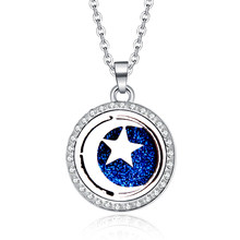 new style Zircon Pendants Moon stars Necklace For Women Crystal Aroma Diffuser Stainless steel pendant Aromatherapy Locket(China)