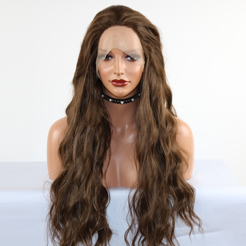 Fantasy Beauty Synthetic Lace Front Wig 26 Inches Long Natural Wave Synthetic Hair Heat Resistant Soft With Natural Hairline