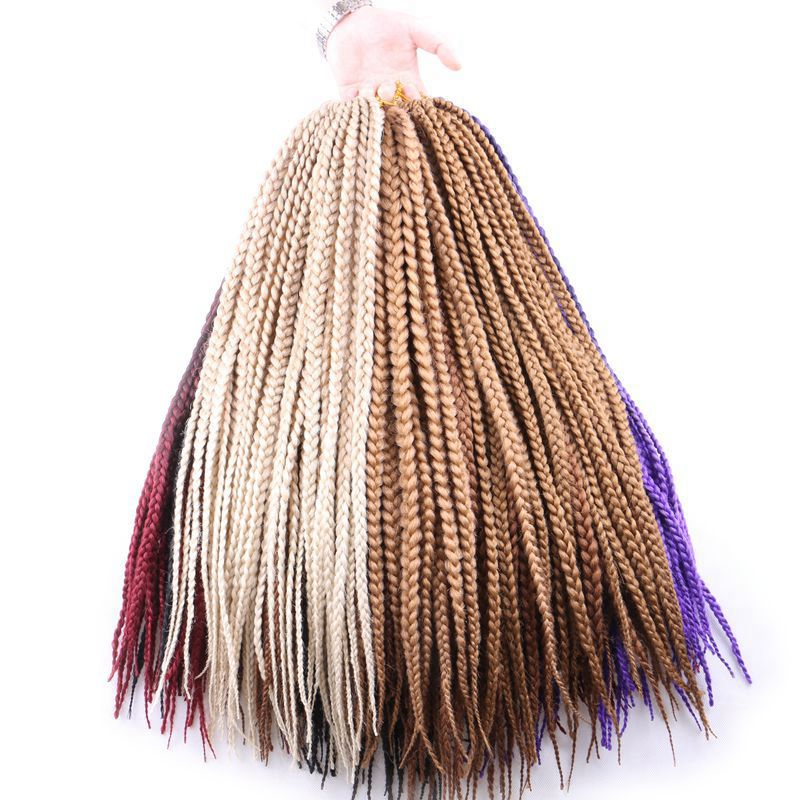 "Lujo para trenzar Kanekalon Syntheic Hair Ombre Burgundy Brown Blonde 24 ""1 cm ancho 12roots / pack 110g Jumbo Crochet Box Braids"