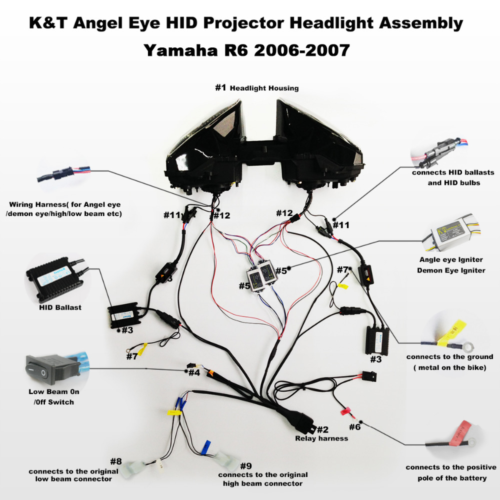hight resolution of kt headlight for yamaha yzf r6 2006 2007 led dual angel eye motorcycle hid projector assembly on aliexpress com alibaba group