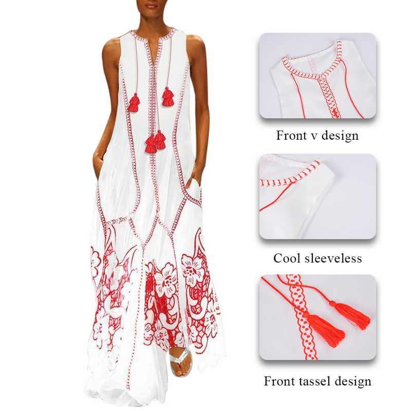 CALOFE Новинка, женская одежда в стиле бохо, длинные платья с кисточками, вечерние, без рукавов, свободные, большие размеры, сарафан в богемном стиле