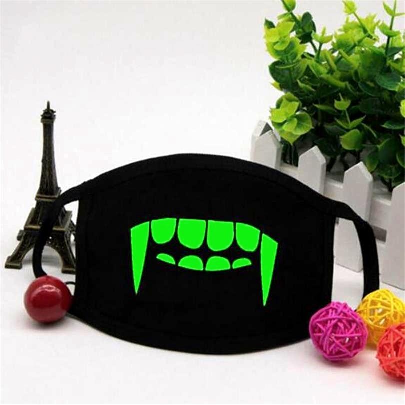 Aranyos kreatív fekete fényes pamut por maszk légzőkészülék csontváz lovaglás kültéri fogak ragyogás köd elleni haze divat száj maszkok Z4