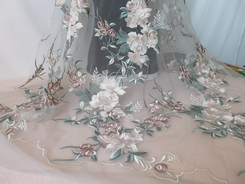 New Light Green/Pink Floral Embroidered Tulle Mesh Lace Fabric For Backdrop, Wedding Gown, Bridal Veil