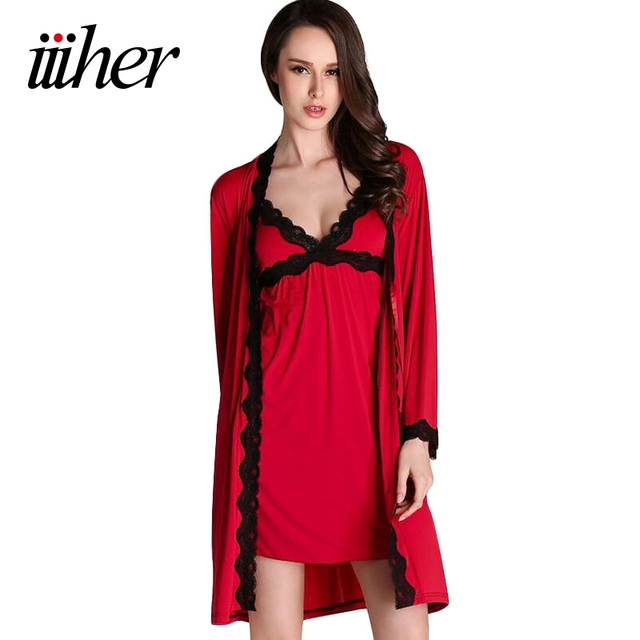 iiiher Robe Sets Imitated Silk Women Pajamas Sets Women Sexy Lingerie Nightwear Dress Silk Robe Ladies Sleepwear Nightgown