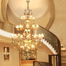 Crystal living room long chandelier retro warm Nordic creative stairwell villa lobby ceiling lamp