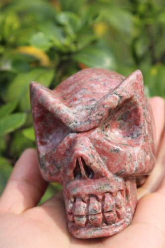AAAAAA++ + + + + natural ruby-quartz carved an aliens eyes skull ...