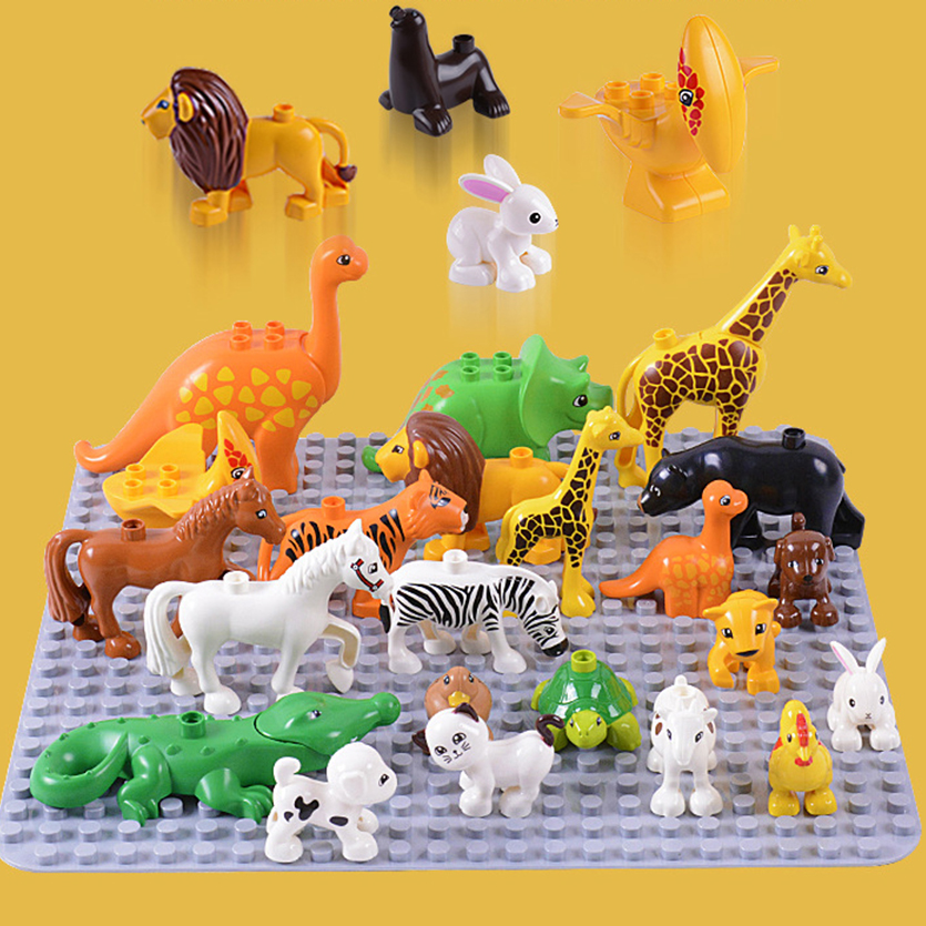 HOT plos Animal Model Figures big Building Block Sets Elephant educational toys