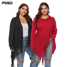 PGSD Simple fashion Big plus size woman irregular tassels a button Solid cardigan Long sleeves Middle length coat Autumn Female