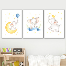 Лучший!  Слон Луны Воздушный Шар Корона Детская Wall Art Холст Картины Nordic Плакаты И Отпечатки Настенные