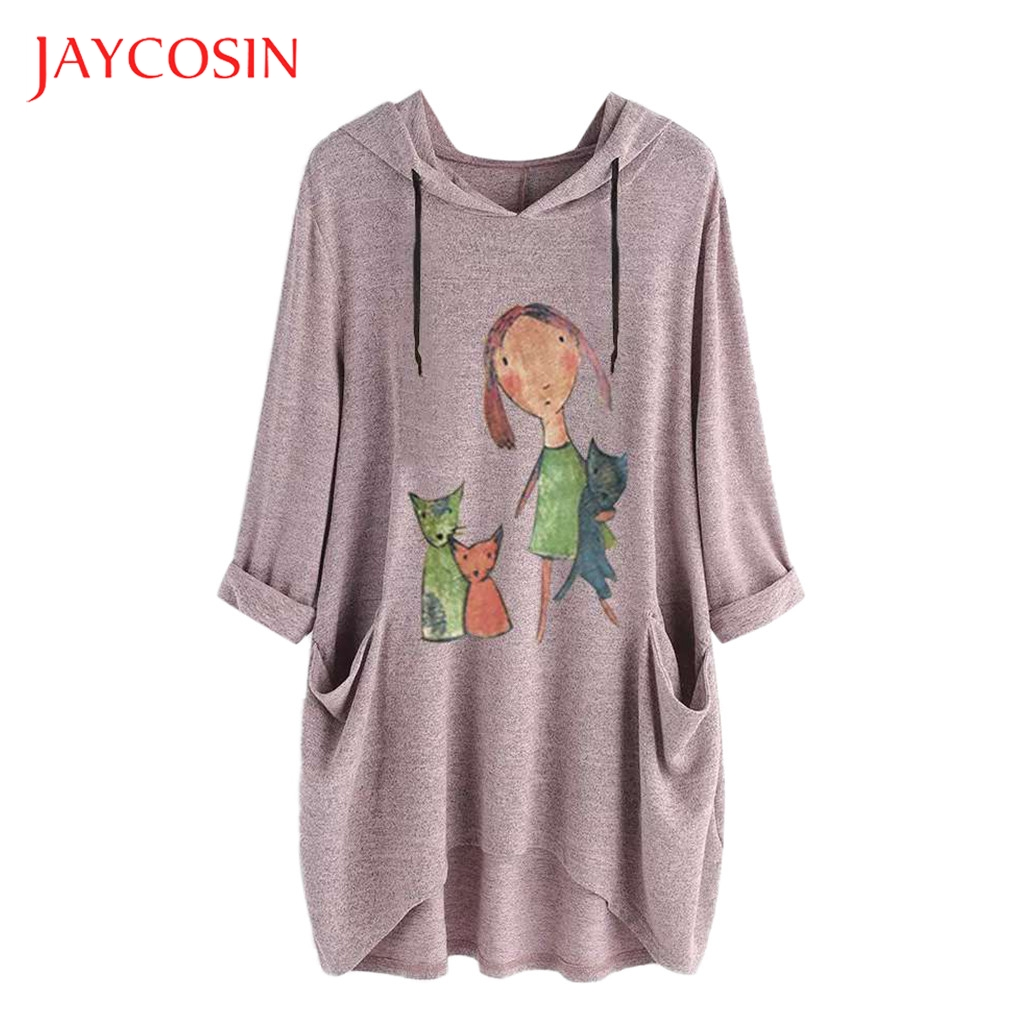 JAYCOSIN Spring Women Sweatshirt Long Sleeve Harajuku Print Girl's Pullovers Tops Hoodies Female Hooded Tops Plus Size 5XL