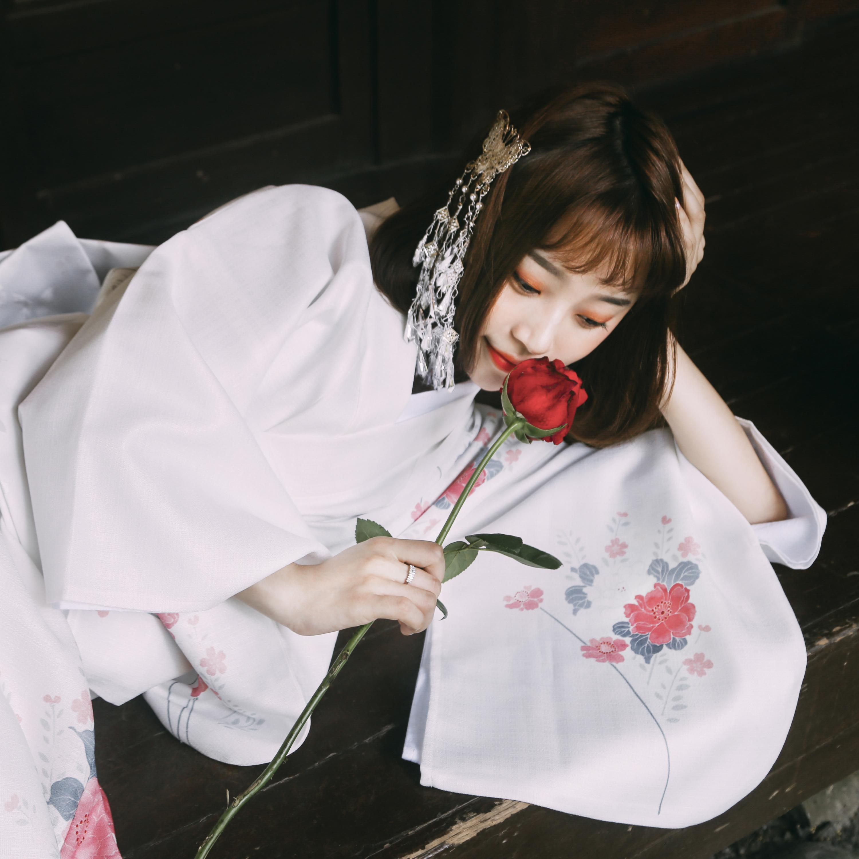 Exquisite White Kimono Japanese Print Formal Geisha Stage Show Dress National Style Cosplay Yukata Women Haori Japan Designs Obi