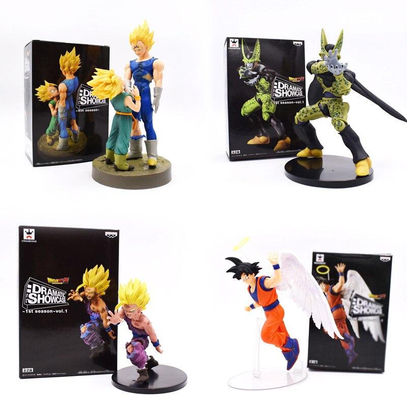 цена на 12-21CM Dragon Ball Son Goku PVC Action Figures DRAMATIC SHOWCASE Angel Goku Gohan Frieza Model Toy Doll PVC Figuras DBZ Gokou