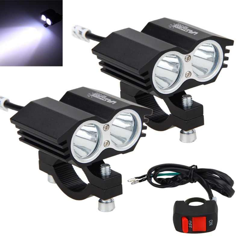 2PCS 12V-36V 30W 6500K 3000LM 2x XM-L T6 LED Motorcycle Headlight Spot Work Light Offroad Driving Fog Lamp with Switch