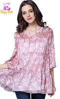 Chest 94 117cm Summer 2017 Long Pink Print Blouse Women Flower Big Size Flare Sleeve Top