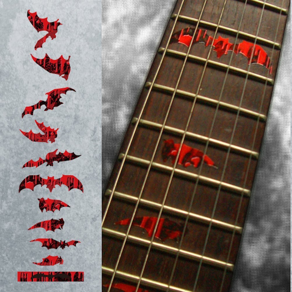 Fret Markers for Guitar & Bass Inlay Sticker Decals - Vampire Bloody Bat guitar or bass tree of life fretboard silver color inlay ultra thin sticker