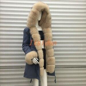 2018 пальто из натурального Лисьего меха, большой размер, Длинная зимняя куртка, меховая подкладка из лисьего меха, большой воротник из меха е...