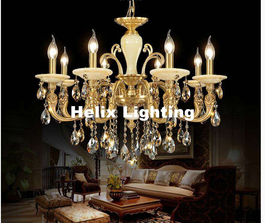 Us 234 6 11 Off Free Shipping Bronze Jade Antique Crystal Chandelier Lingting Luxurious Led Ac Brass Crystal Lamp Lustre Suspension Lighting In