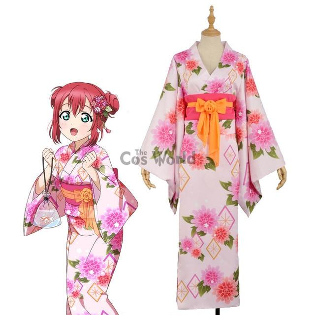 47ee01fc9e19 Aqours Kurosawa Ruby Kimono Yukata Bathrobe Dress Uniform Outfit Anime  Cosplay