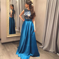 Evening Dress 2016 Off Shoulder A Line Lace Teal Blue Evening Gowns Cheap Formal Dresses Vestido Longo De Renda Engagement Dress