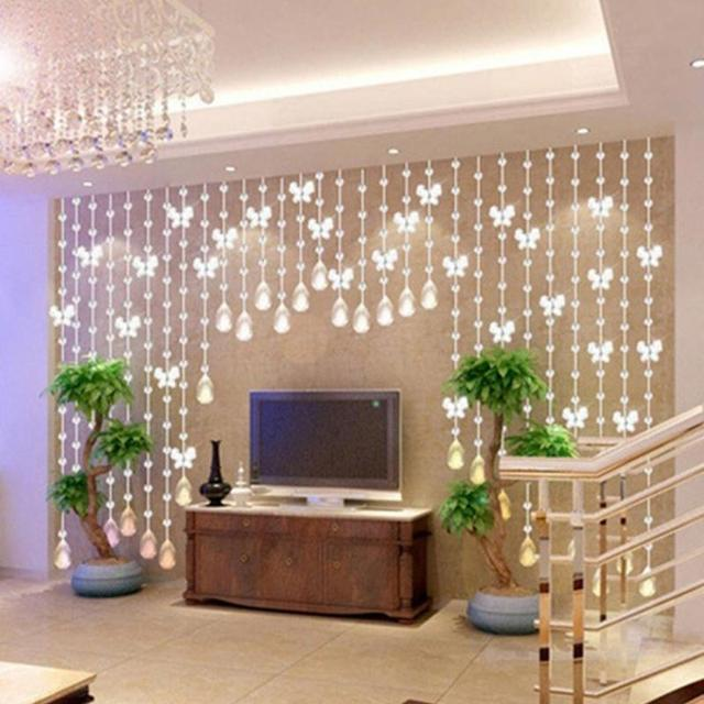 1M Butterfly/Waterdrop Shape Crystal Glass Waterdrop Shaped Wedding Curtain Bead Decor Pendant 4 Colors
