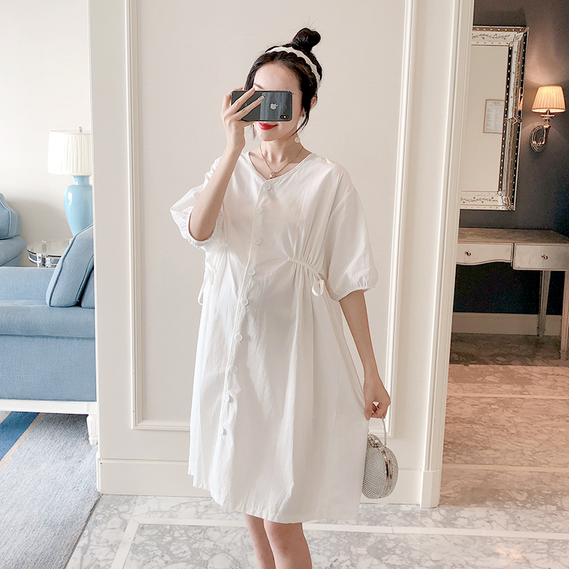 8816 # белый хлопок Галстуки талии Тонкий Свободные летнее платье для беременных модная одежда для беременных для женщин элегантный очароват...