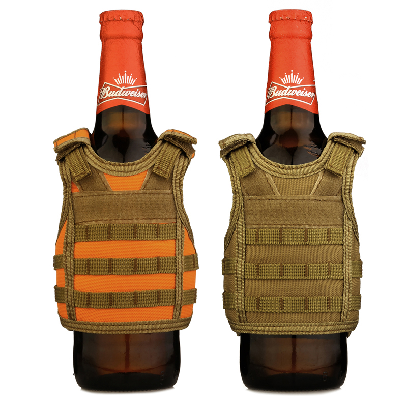 Sports & Entertainment Camping & Hiking Independent Tactical Beer Military Molle Vest Mini Miniature Wine Bottle Cover Vest Beverage Cooler Adjustable Shoulder Straps