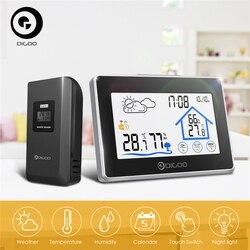 Digoo DG-TH8380 Wireless Thermometer Hygrometer Touchscreen Wetter Station Thermometer Außen Prognose Sensor Uhr