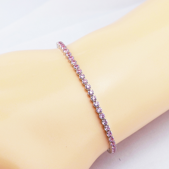 bfaf8a727 Authentic 100% 925 Sterling Silver Pink Sparkling Strand Bracelet with Pink  CZ Fits European Charm